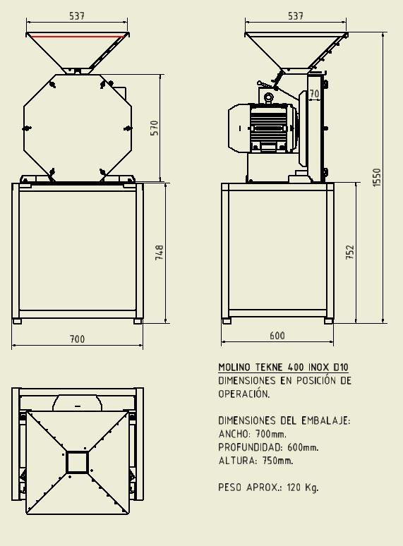 TEKNE 400 INOX D10 - DIMENSIONES